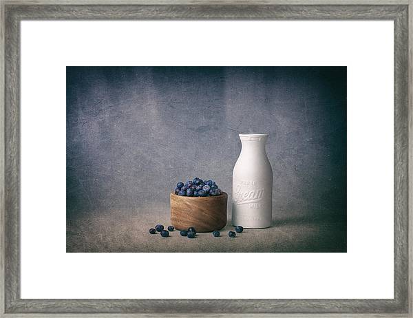Blueberries And Cream Framed Print