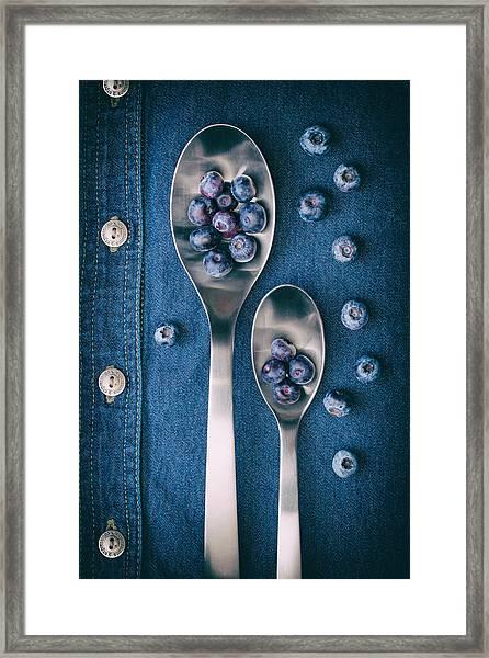 Blueberries On Denim I Framed Print