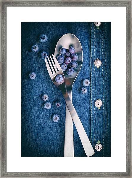 Blueberries On Denim II Framed Print