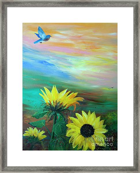 Bluebird Flying Over Sunflowers Framed Print