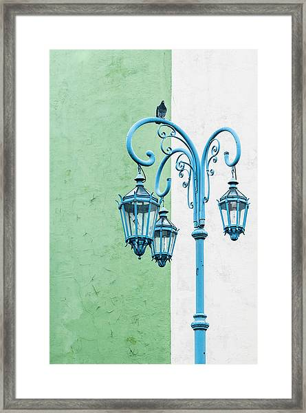 Blue,green And White Framed Print