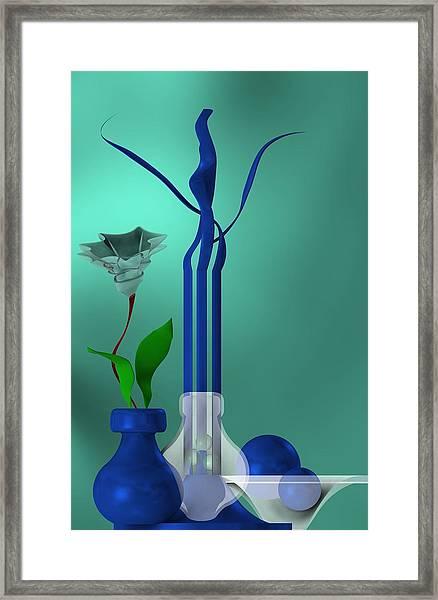 Bluish Still Life Growing Framed Print