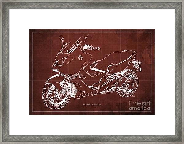 Bmw C600 Sport 2013 Blueprint Red And White Art Print Framed Print