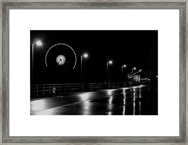 Boardwalk Amusement At Night Framed Print