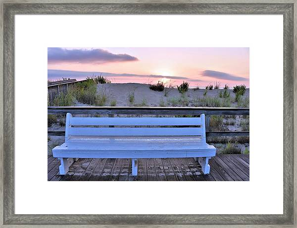 A Welcome Invitation -  The Boardwalk Bench Framed Print