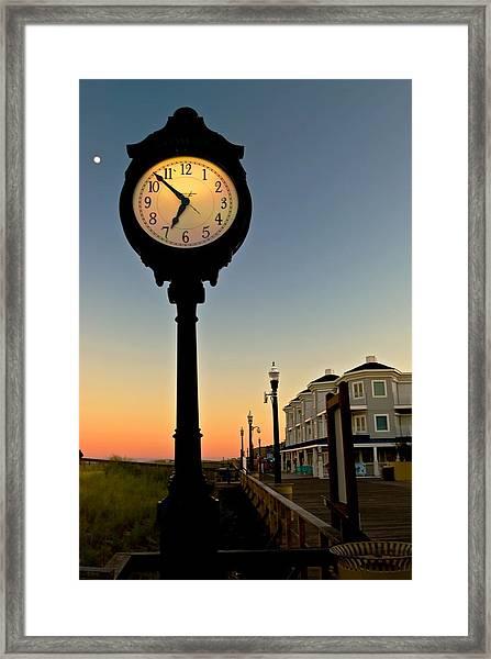 Boardwalk Clock With Rising Moon. Bethany Beach. Framed Print