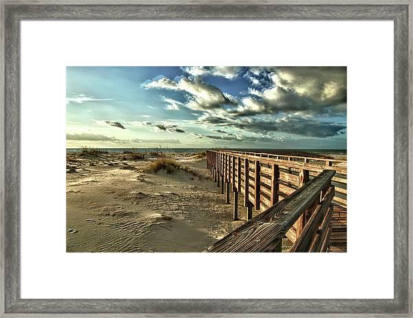 Boardwalk On The Beach Framed Print