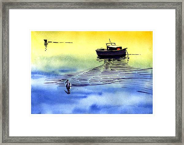 Boat And The Seagull Framed Print