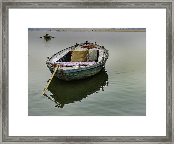 boat at Ganges Framed Print
