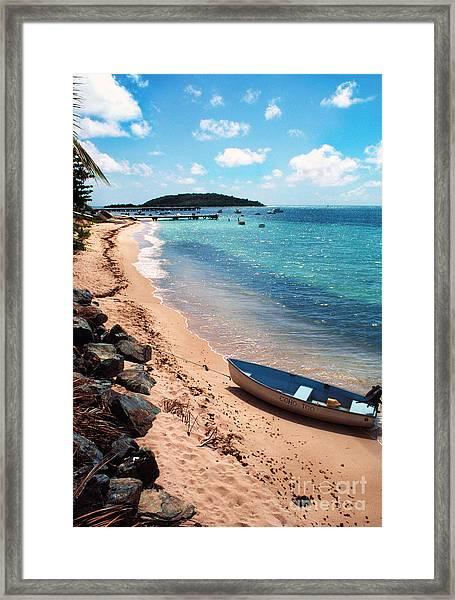 Boat Beach Vieques Framed Print