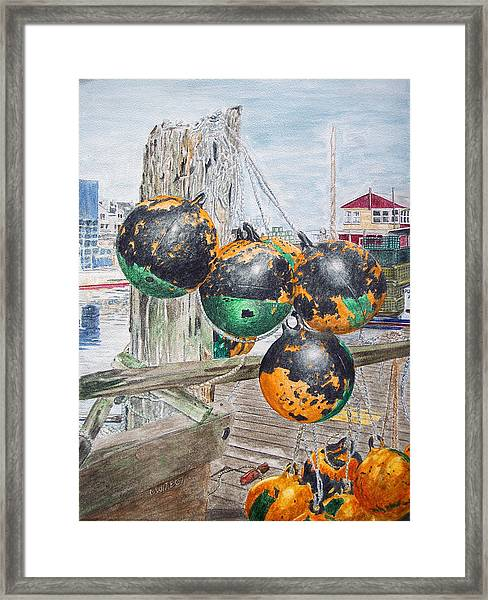 Framed Print featuring the painting Boat Bumpers by Dominic White