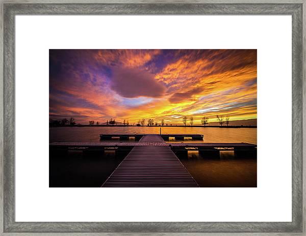 Boat Dock Sunset Framed Print