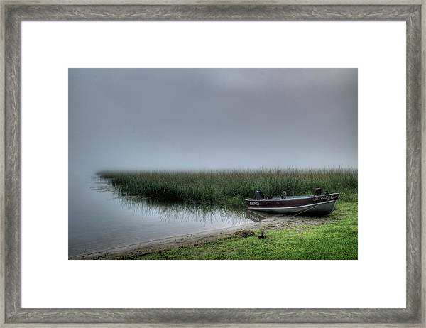 Boat In The Fog Framed Print