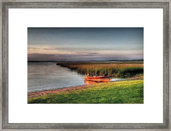 Boat On A Minnesota Lake Framed Print