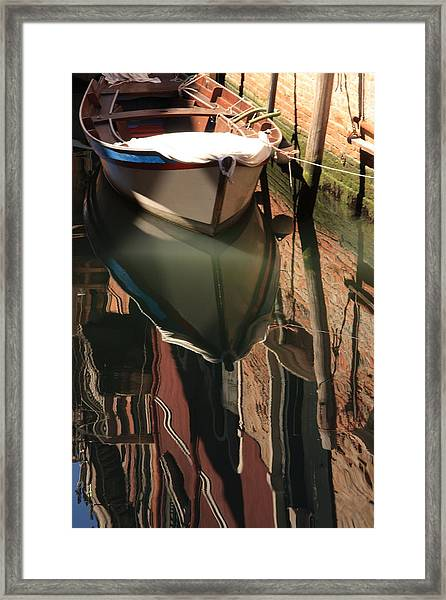 Boat On Canal In Venice With Reflection Framed Print by Michael Henderson