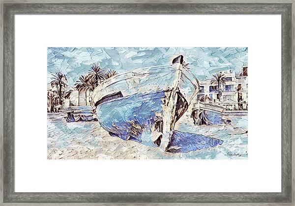 Boat On Sand Of A Beach Shore Framed Print