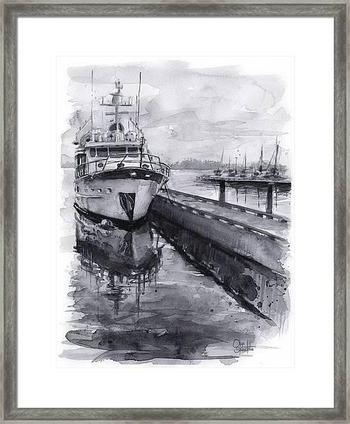 Boat On Waterfront Marina Kirkland Washington Framed Print