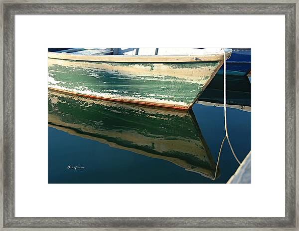 Framed Print featuring the photograph Boat Reflection by AnnaJanessa PhotoArt