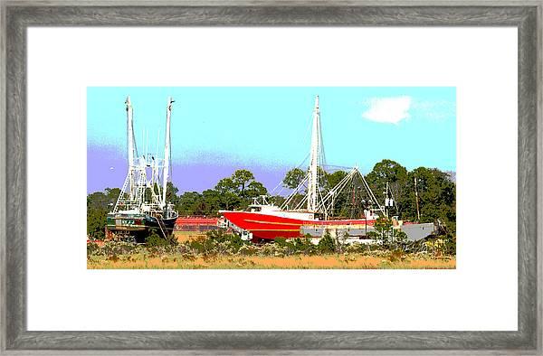 Boat Series 8 Shipyard Bayou La Batre Framed Print by Paul Gaj