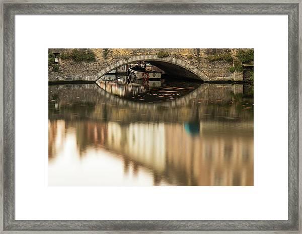 Boat Waddling On Water Channels Of Bruges, Belgium Framed Print
