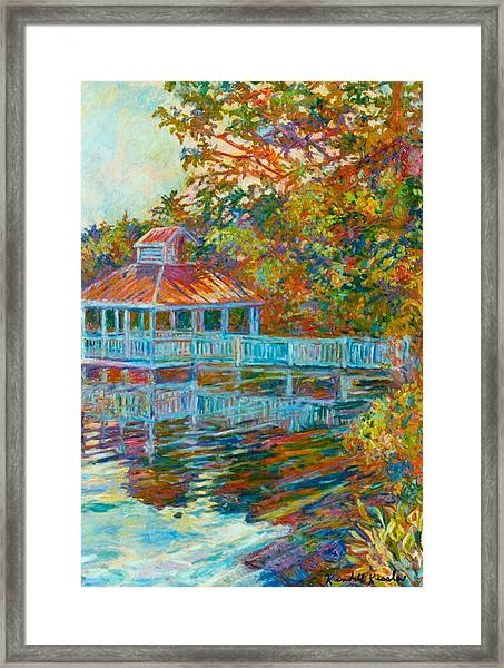 Boathouse At Mountain Lake Framed Print