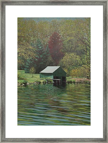 Boathouse On Langwater Pond Framed Print