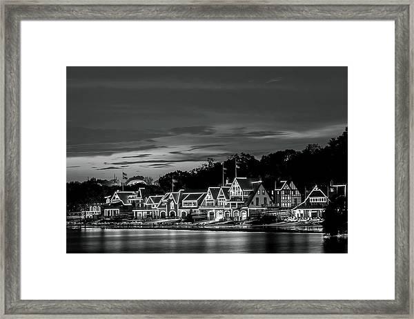 Boathouse Row Philadelphia Pa Night Black And White Framed Print