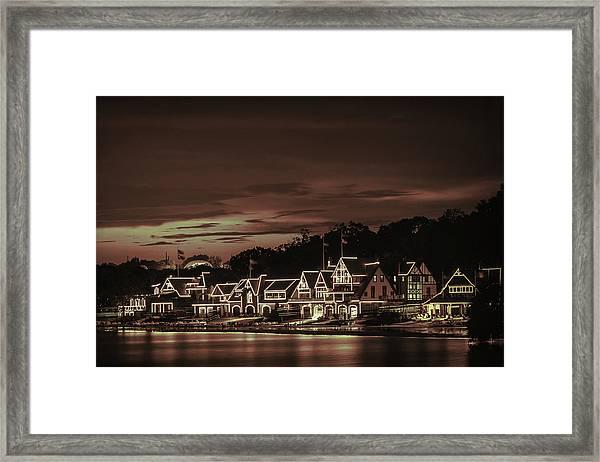 Boathouse Row Philadelphia Pa Night Retro Framed Print