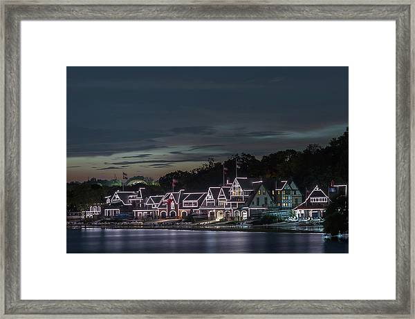 Boathouse Row Philly Pa Night Framed Print