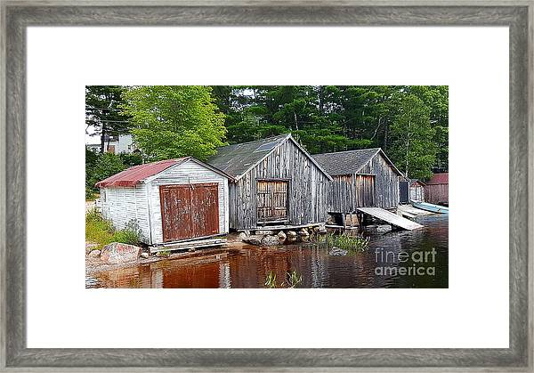 Boathouses - Mcadam Nb Framed Print