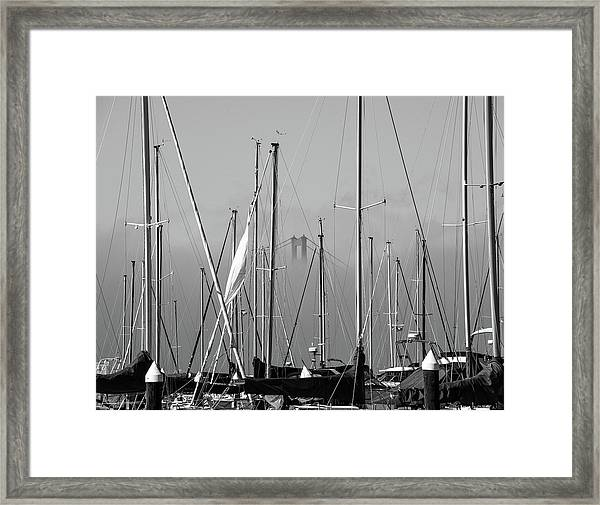 Boats And A Bridge On The Bay Framed Print