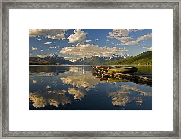 Boats At Lake Mcdonald Framed Print