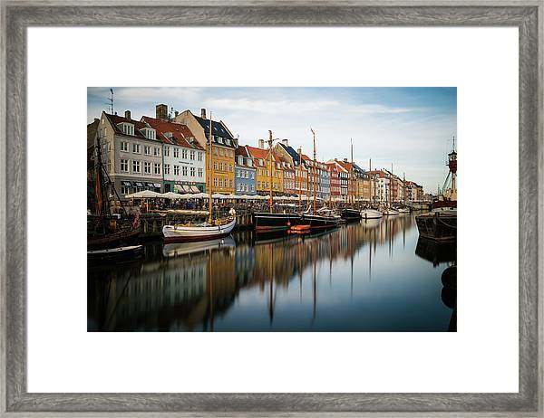 Boats At Nyhavn In Copenhagen Framed Print