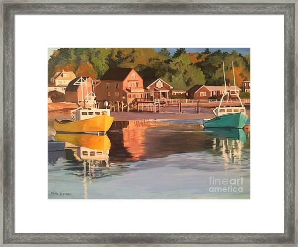 Boats In Kennebunkport Harbor Framed Print