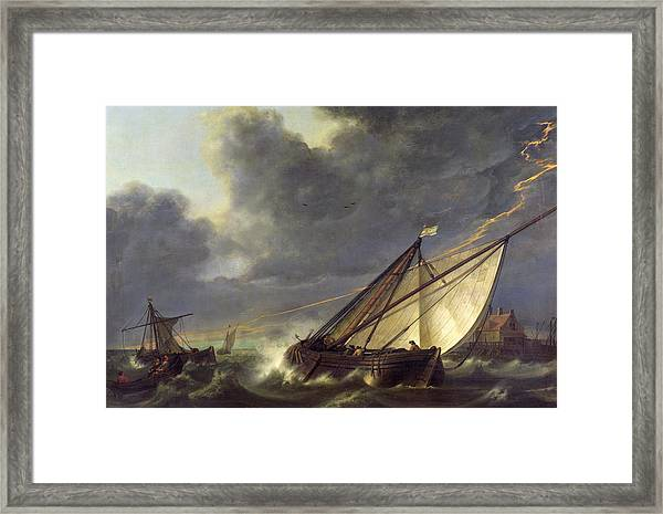 Boats In The Estuary Of Holland Diep In A Storm Framed Print