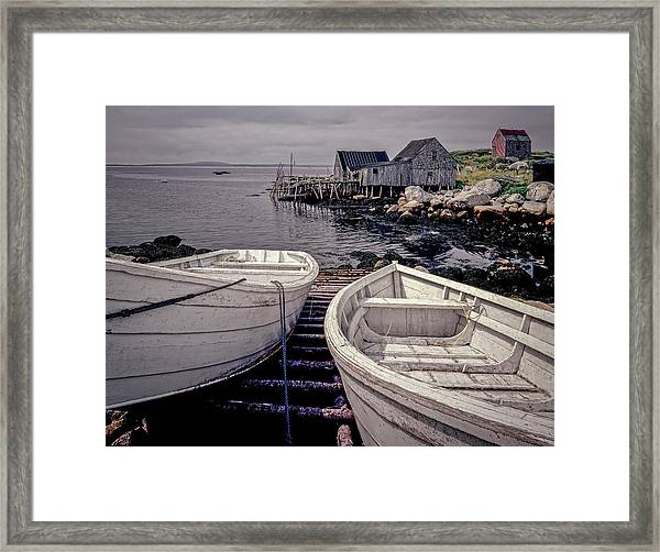 Boats Near Peggys Cove Framed Print