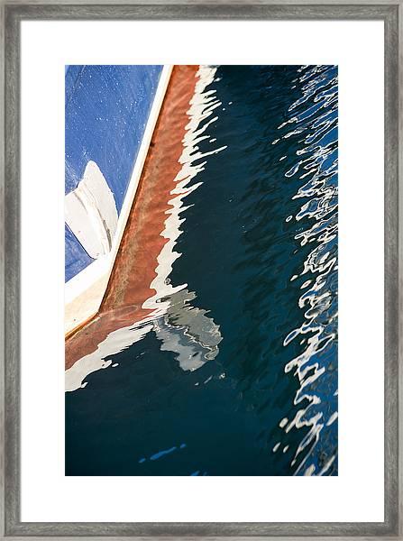 Boatside Reflection Framed Print