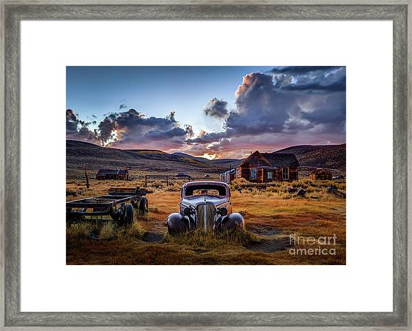 Bodie's 1937 Chevy At Sunset Framed Print