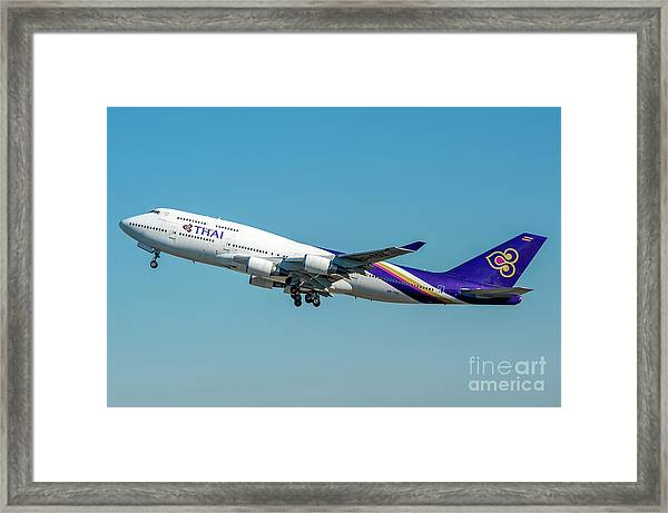Boeing B747-400 Thai Airline Departed From Milano Malpensa Airport Framed Print