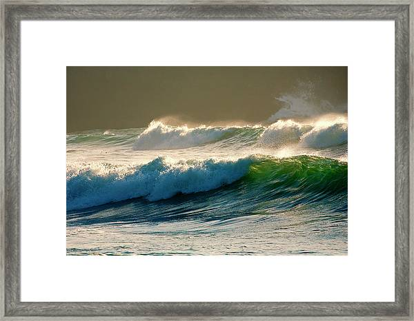 Boiler Bay Waves Rolling Framed Print