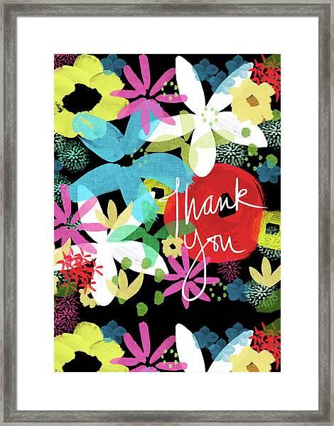 Bold Floral Thank You Card- Design By Linda Woods Framed Print