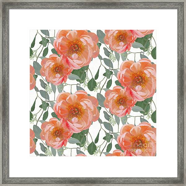 Bold Peony Seeded Eucalyptus Leaves Repeat Pattern Framed Print