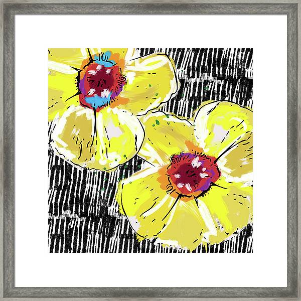 Bold Yellow Poppies- Art By Linda Woods Framed Print