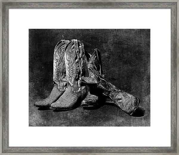 Boot Friends - Art Bw Framed Print