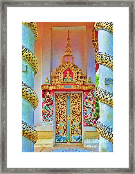 Bophut Temple In Thailand Framed Print