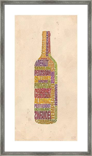 Bordeaux Wine Word Bottle Framed Print by Mitch Frey