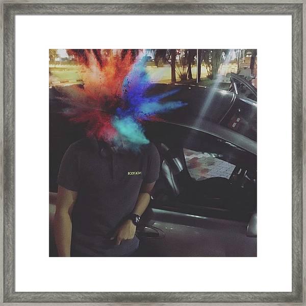 Bored So I Made My Friend's Head Framed Print