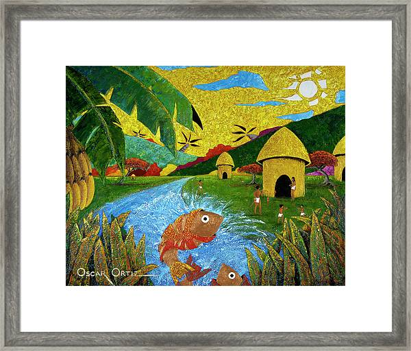Framed Print featuring the painting Boriken by Oscar Ortiz