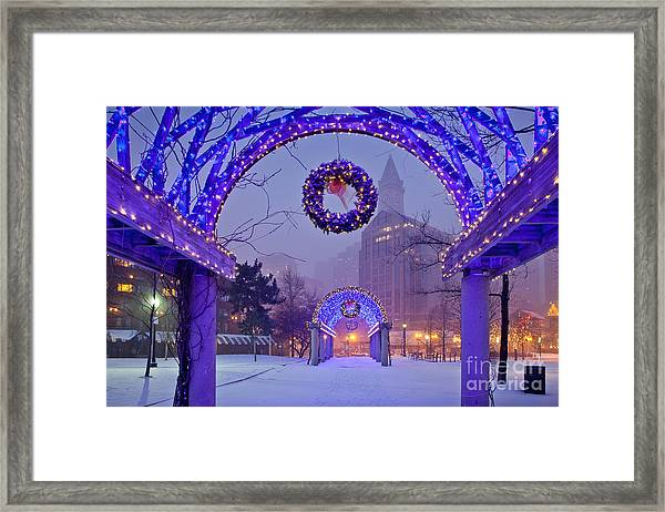 Framed Print featuring the photograph Boston Blue Christmas by Susan Cole Kelly