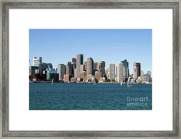 Boston City Skyline Framed Print